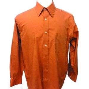 Pierre Cardin Shirt Mens Long Sleeve Dress Orange